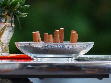 Cigarette Butts, Tilt, Smoking, Ashtray, Table, Nasty