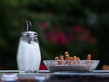 Sugar Bowl, Sugar, Cigarette Butts, Tilt, Smoking