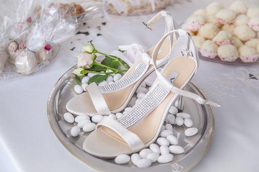 Shoe, Bride, Sugared Almonds, White, Fine, Heel
