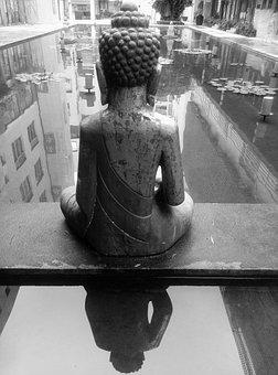 The Buddha, The Buddha Figure, Back, Pond, Buddha