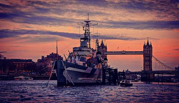 Hms, Belfast, London, Sunset, Skyline, Tower, Bridge