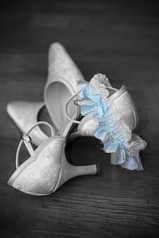 Wedding, Shoes, Dress, Veil, Black And White, Bride