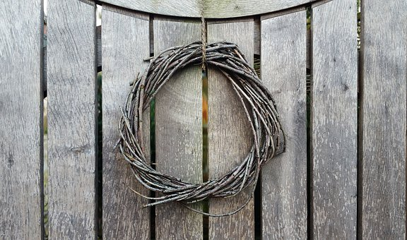 Background, Structural Fence, Wreath, Wood