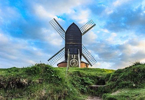 Windmill, Sky, Grass, View, Cloudy, Landscape, Wind