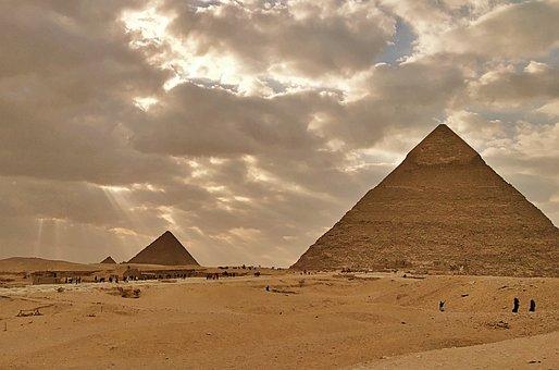 Pyramids, Giza, Egypt, Desert, Ancient, Monument