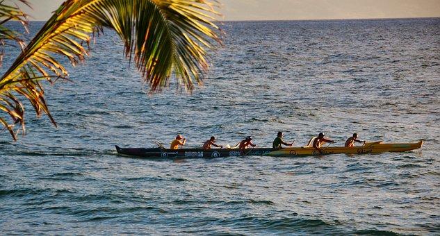 Canoeing, Hawaii, Sea, Boat, Outrigger Canoe