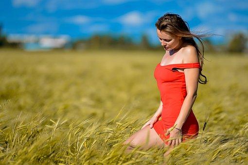 Girl, Red Dress, Figure, Field, Rye