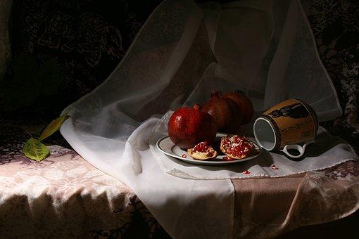 Still Life, Pomegranate, Red, Ripe, Fruit, Sweet