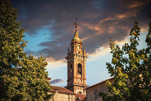 Church, Tower, Sunset, Sky, Colourful, Gold, Tuscany