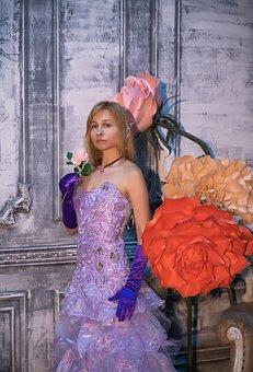 Flowers, Ball, Ball Gown, Corset, Evening Dress