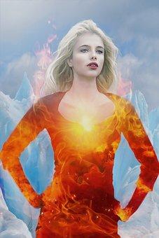 Phoenix, Fire, Ice, Fantasy, Dark, Gothic, Woman, Girl