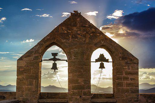 Gable, Ruin, Bells, Backlighting, Building, Sky