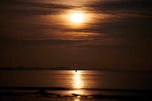 Luna, Clouds, Palo, Sea, Reflection, Float, Romantica