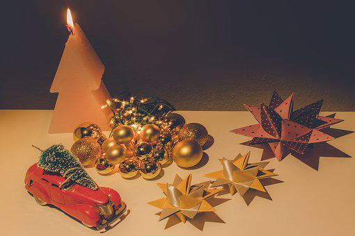 Christmas, Balls, Star, Candle, Toy Car