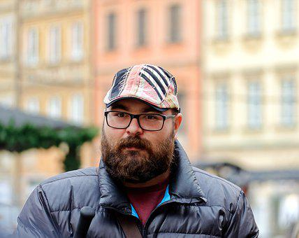 Man, Young, Person, Adult, Beard, Cap, Glasses, Market