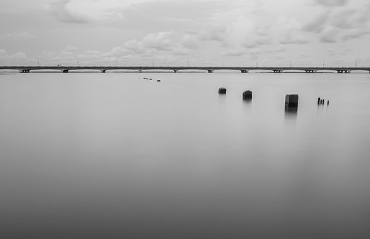 Lagoon, Long Exposure, Bridge, Horizon, Outdoor, Travel