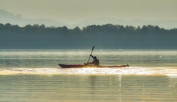 Water, Fog, Chiemsee, Lake, Nature, Landscape, Kayak