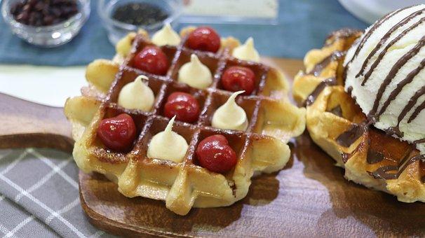 Waffle, Confectionery, Ice Cream, Icecream, Sweet, Pie