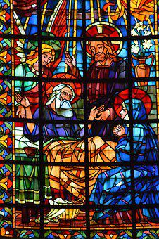 Stained Glass, Window, Church, Death, Joseph, Angel