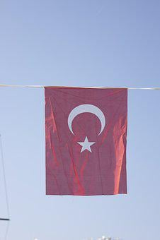 Turkish Flag, Fabric, Fluctuation, Textile, Turkish