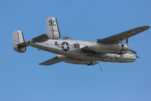 B25, Vintage, Bomber, Doolittle, B-25, Airplane