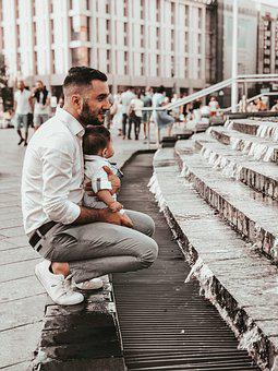 Dad S Son, Fountain, Comfort, White Shirt, City, Smile
