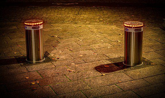 Bollard, Piles, Post, Metal, Illuminated, Sidewalk