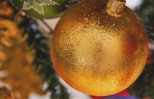 Ball, Christmas Bauble, Gold, Decoration, Christmas