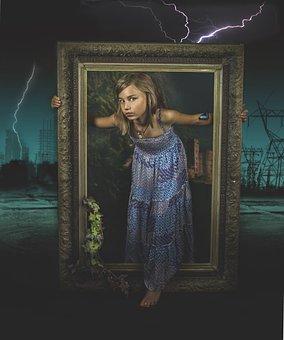 Apocalypse, Child, Girl, Debris, Nature, Ecology