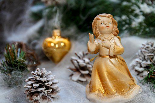 Angel, Gold, Figure, Decoration, Christmas, Graceful