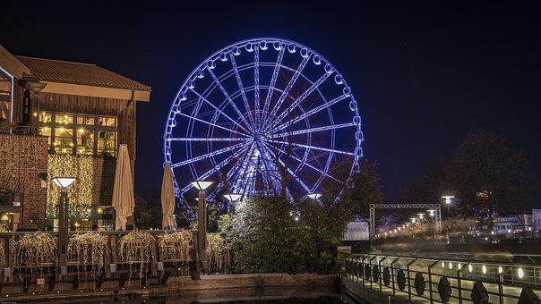 Centro, Ferris Wheel, Illuminated, Night