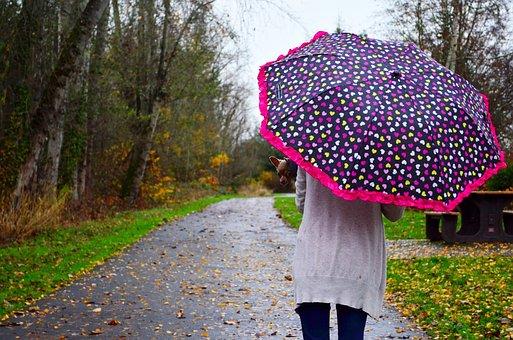 Woman, Umbrella, Rain, Girl, People, Female, Young