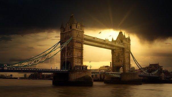London, Tower Bridge, River Thames, Clouds, Sun, Dark