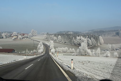 Road, Winter, Wide, Sky, Haze, Mood, Frost, Ice