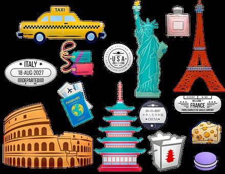 World Travel, Rome, China, Paris, New York, Taxi