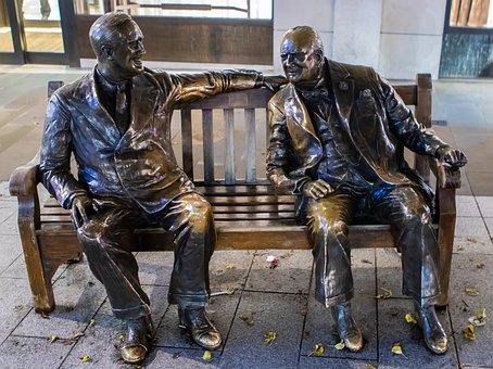 Churchill And Roosevelt, Allies Sculpture, Sculpture