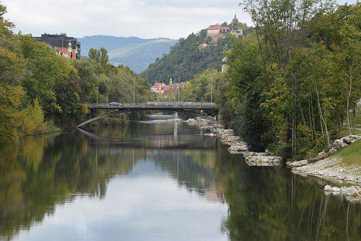 Mur, Augarten, Schlossberg, Graz, Austria, Styria, City