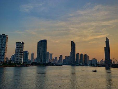 Bangkok, Morning, Sun, River, Chao Phraya River