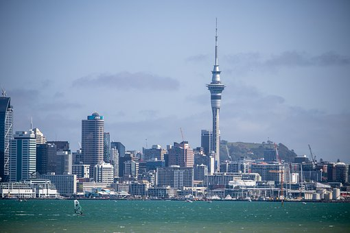 Auckland, Skyline, Harbour, Windsurfer, Port, Urban