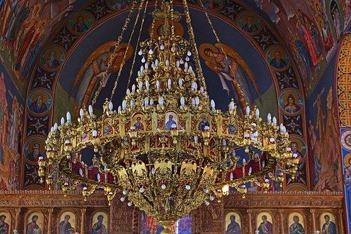 Greece, Church, Architecture, Chandelier, Splendor
