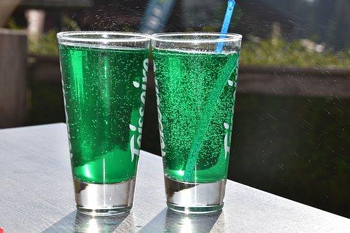 Glasses Of Mint, Diabolo Menthe, Bubbles, Glasses