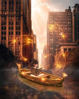 Girl, Salute, Book, Magic, Fantasy, Photoshop, Boat