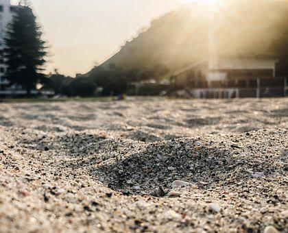 Sand, Beach, Nz, Mount Maunganui, Sunset, Mountain