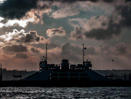 Ship, Ferry, Transportation, Silhouette, View, Sky