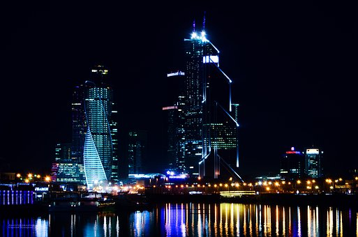 город, ночь, City, Night, Architecture, Lights, Urban