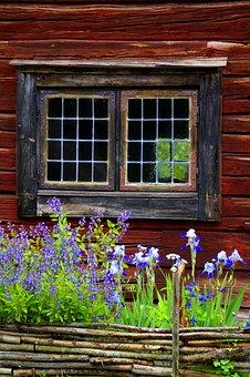 Window, Sweden, Old, Farmhouse, Facade, Fence