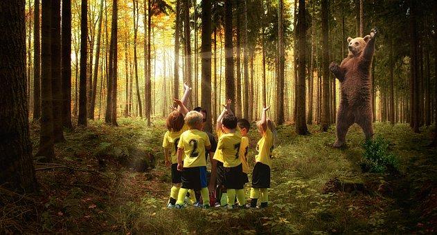 Play, Children, Joy, Bear, Forest, Fun, Photomontage