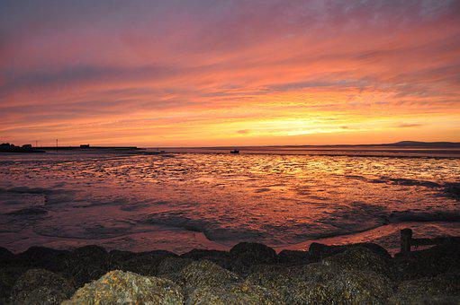 Sunset, Morecambe Bay, Setting Sun, Lancashire, Evening