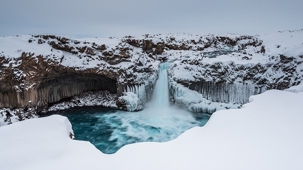 Iceland, Aldeyjarfoss, Winter, Snow, Wintry, Cold