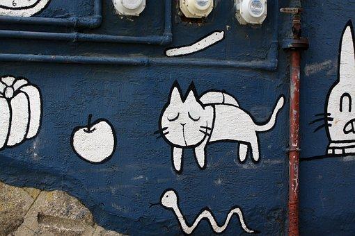 Mural, Cat, Blue, Graffiti, Wall, Animal, Art, Painting
